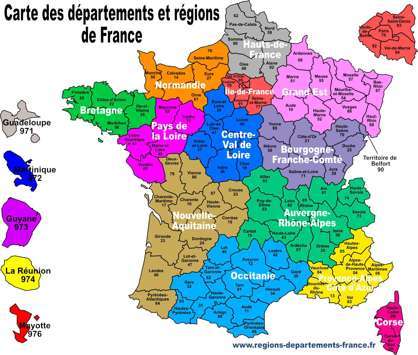 Carte de France avec régions et départements