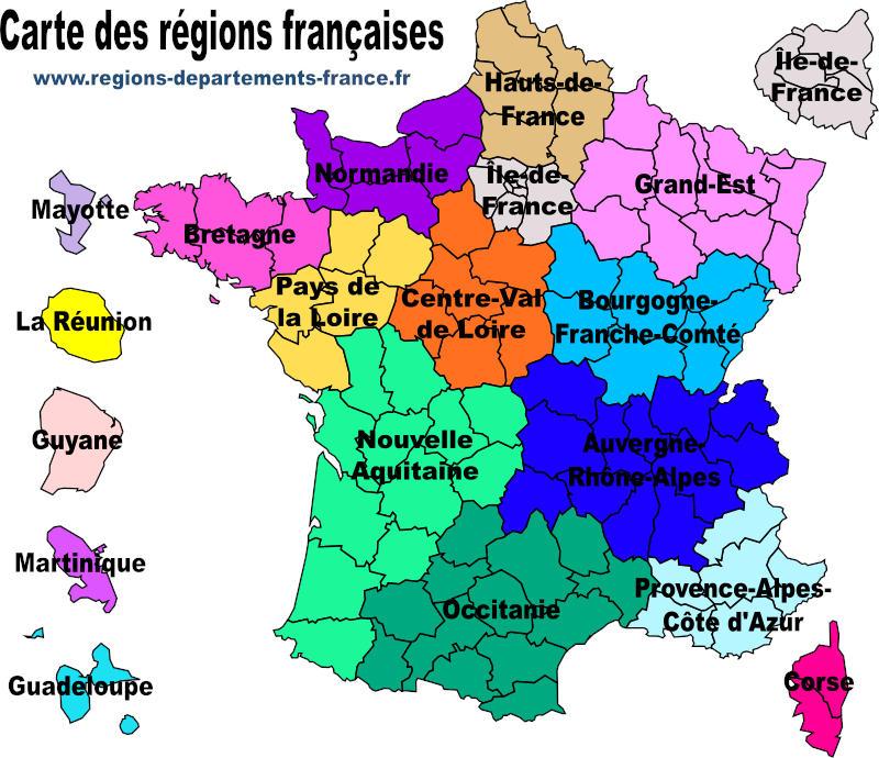 régions départements de france