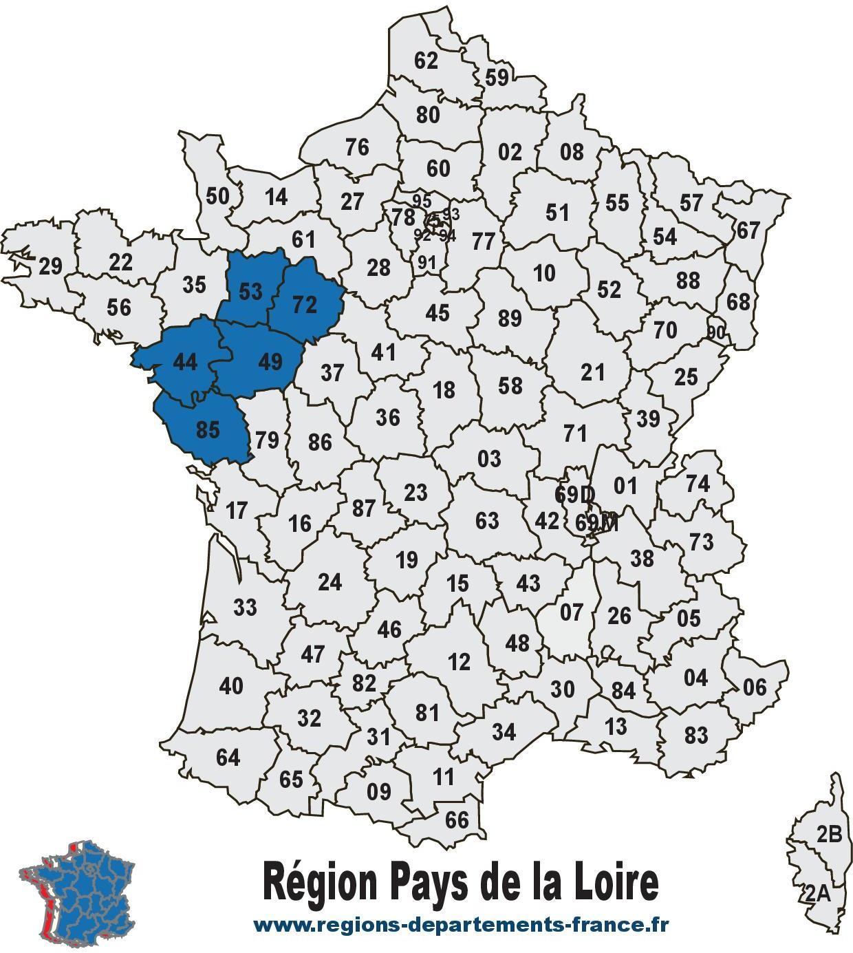 Région Pays de la Loire : localisation, carte et départements.